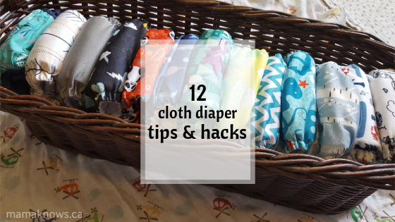 article image header shows a basket of cloth diapers and text reads 12 cloth diaper hacks and tips
