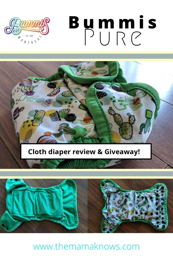The Bummis Pure AIO cloth diaper is a Canadian made masterpiece. Check out our review and enter to win one for yourself