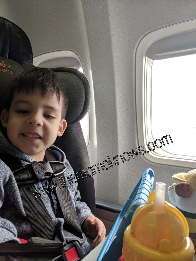 Diono RXT carseat on an airplane