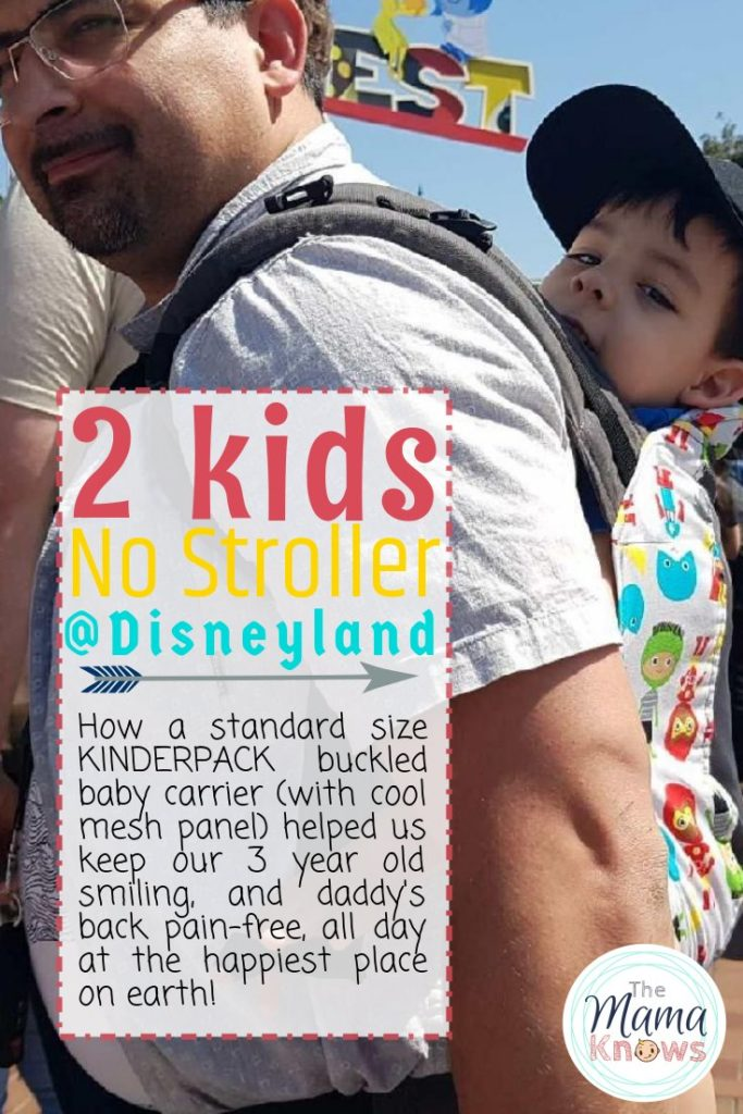 Disneyland with 2 under 3 and no stroller? Yep, it can be done. Check out my review of the Kinderpack Standard baby carrier and see how its wide, well-padded straps kept my husband and toddler happy all day.