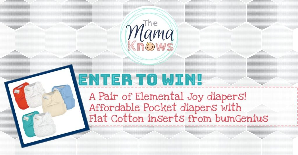 Win a pair of Elemental Joy cloth diapers with cotton flat inserts!