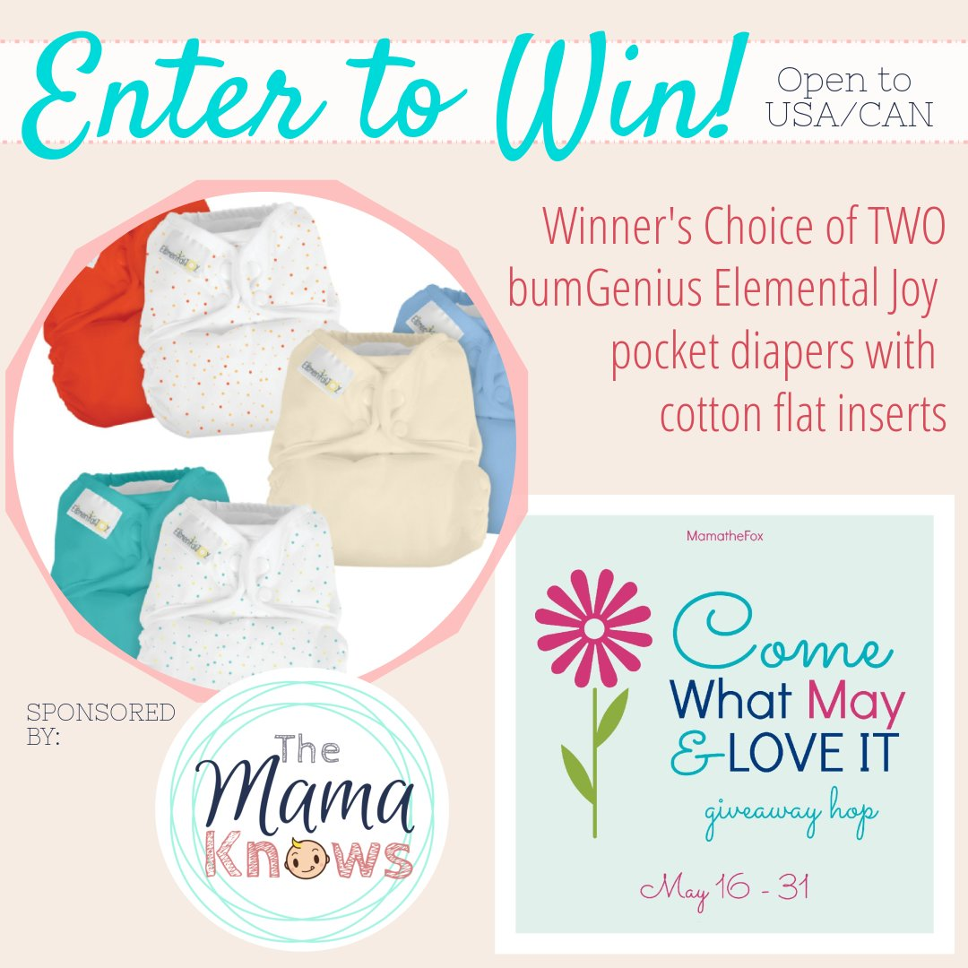 Enter to win two Elemental Joy pocket diapers with cotton flat inserts
