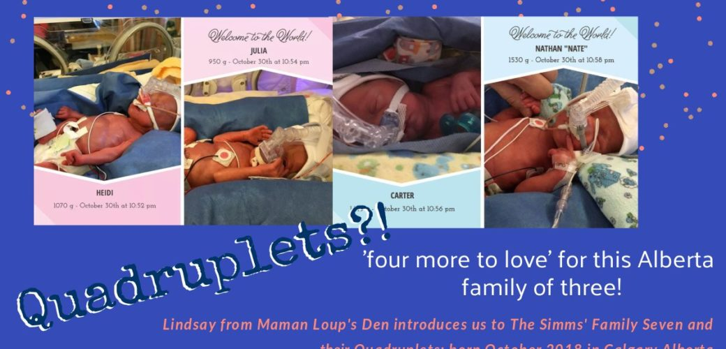 "Quadruplets for Alberta Family of three makes ""The Simms Family Seven!"""